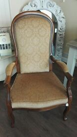 Vintage Original Wooden Crushed Velvet Fauteuil Style Chair