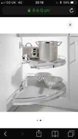Blind corner cupboard organizer shelves