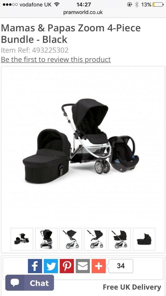 Mamas and papas zoom pram set