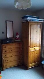 Pine wardrobe + chest drawers
