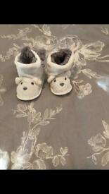 Baby bear fluffy booties, new. 3-6 Months.
