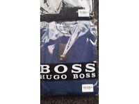 "NEW HUGO BOSS ""BATTISSE B"" 100% COTTON V NECK JUMPERS IN REAM AND LIGHT BLUE"
