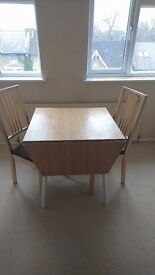 IKEA extendable dining table seats 4 with 2 x chairs