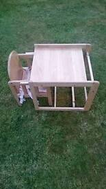 Wooden high chair /table