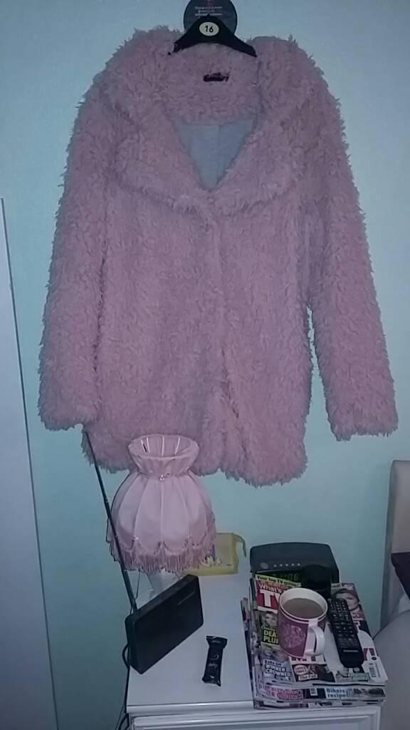 Ladies pink fur coat