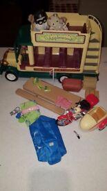 Sylvanian Families Woodland Bus, tent and bike