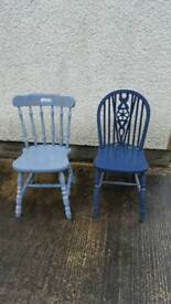 Mismatching pair of 2 sturdy pine kitchen chairs blue colour