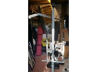 York Barbell 520 bench + lat/curl attachment. 5 station heavy duty weight lifting bench. REDUCED