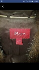 Monsoon Brown fur coat (not real fur)