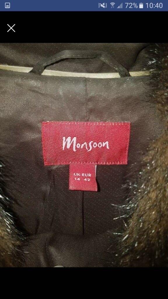 Monsoon Brown fur coat (not real fur)