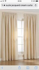 CREAM JACQUARD LINED CURTAINS