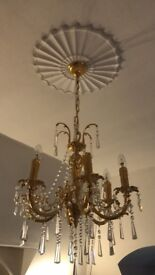 Beautiful 6 arms Gold effect chandelier