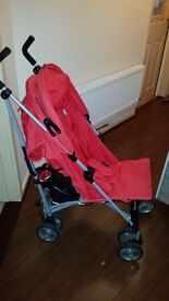 Zeta Vooom Stroller/Pushchair in Red w/Raincover