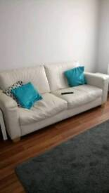 3 seater ivory leather sofa
