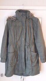 Ladies F&F Warm Khaki Coat Jacket size 12/14
