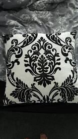 large black and white damask cushion