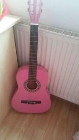 pink girls junior guitar like new