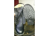 Mens Black Leather Army Boots Size 10 New