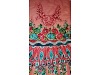 Orange Embroidered Outfit - UNSTITCHED - Pakistani - Large