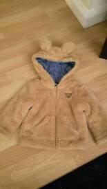 Baby warm fur hooded coat 1-2m