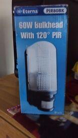 Eterna 60W Bulkead with 120 PIR Black Security Light with LED Light Bulb
