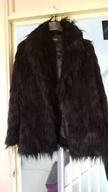 Ladies Black Faux Fur Coat Size M/12