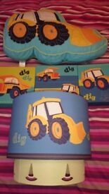 Next Dig Dig Digger Bedroom Set - Curtains / Cushion / Pictures / Light Shade