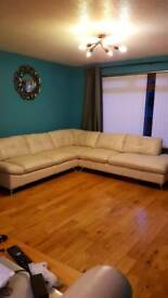 for sale cream leather corner sofa