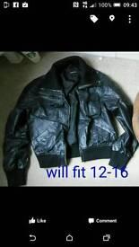 Black leather jacket size 16