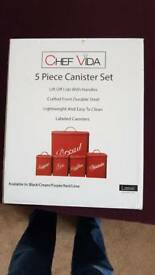 5 piece canister set in country cream