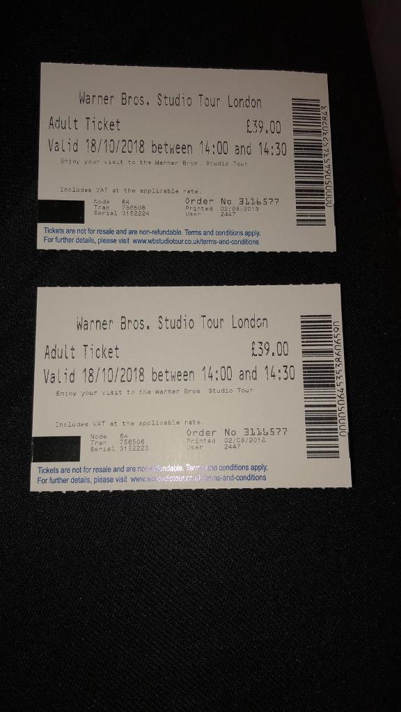 Harry Potter Studio Tour Tickets Ebay