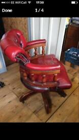 Captains swivel chair red leather