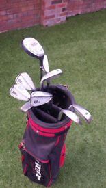 Set of golf clubs x 9, Proline XV220 irons plus putter and golf bag with strap