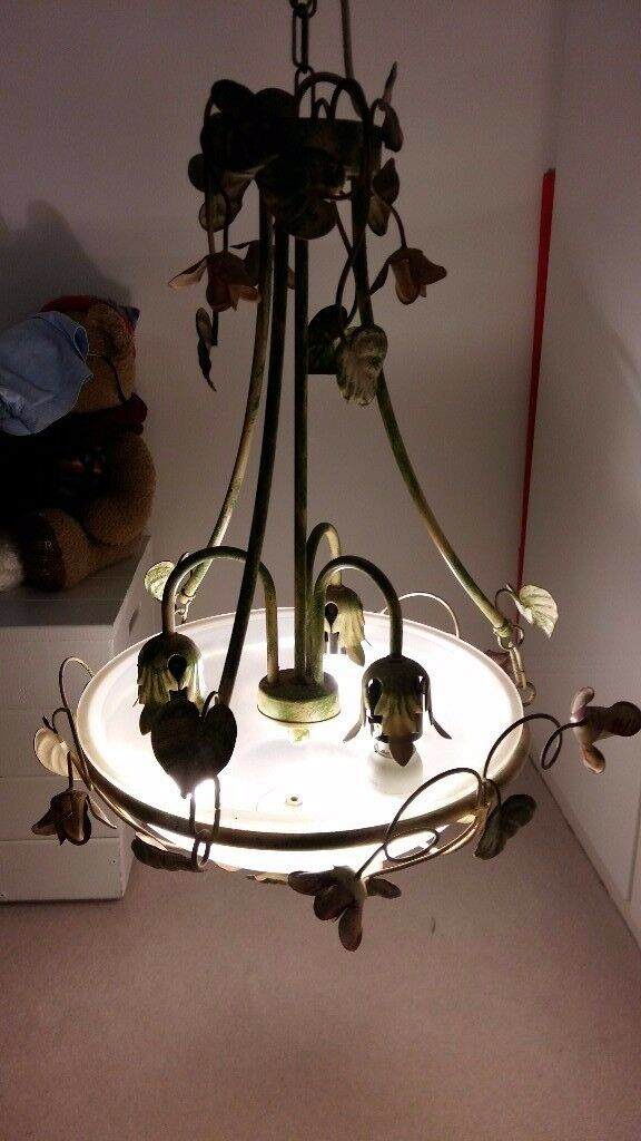 beautiful hand-painted metal ceiling light fitting with six matching wall lights