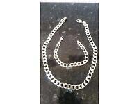 Man Silver Necklace and bracelet set