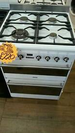 SMEG 60CM DUEL FUEL DOUBLE OVEN COOKER IN WHITE