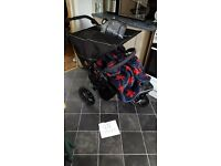 Out n about nipper V4 double pushchair with buggysnuggle brand cosytoes vgc