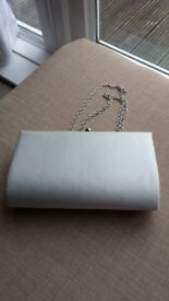 Ivory white satin bridal/prom handbag