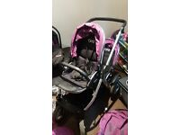 Oyster max 2 with car seat, 2 seats, purple color pack, raincover, newborn insert ...