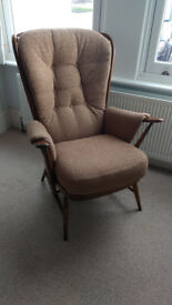 Ercol Evergreen High Back Armchair, solid wood dark beech frame, light brown upholstered cushions