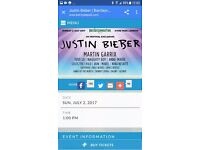 2 x tickets for justin bieber at hyde park, london 2/7/17 with return coach travel from portsmouth