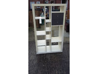 white with 2 black drawers shelving unit