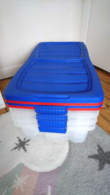 4x Under-Bed Storage Boxes with Folding Lids & Wheels