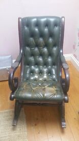 Vintage Chesterfield style leather rocking chair