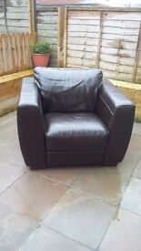 2 seater sofa and arm chair dark brown leather FREE
