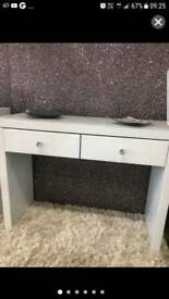 WHITE GLASS DRESSING TABLE WITH CRYSTAL HANDLES COST OVER £200 BRAND NEW!!