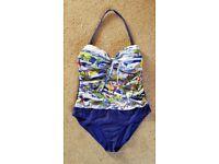 Ladies Marks & Spencer Seaside Scene Swimming Costume Size 16 (VGC)