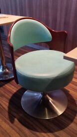 Comfy Wooden Leather Chairs turquoise and cream 12 AVAILABLE shop cafe coffee