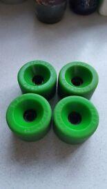 Genuine 1970's 2nd gen lime green 70mm kryptonic skateboard wheels set of 4