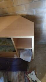 Corner TV Stand with shelves and drawers - oak